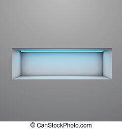 iluminado, estante, neón, vector, exposición, luz, illustration.
