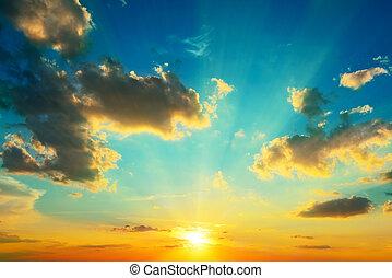iluminado, sunlight., nubes, sunset.