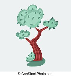 ilustración, árbol, vector, fondo., blanco