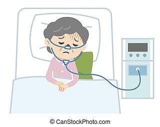 ilustración, 3º edad, terapia de oxígeno, mujer