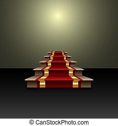 Ilustración abstracta del vector de la alfombra roja en la escalera