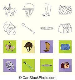 ilustración, acción, colección, signo., competición, símbolo, equipo, web., vector, equitación