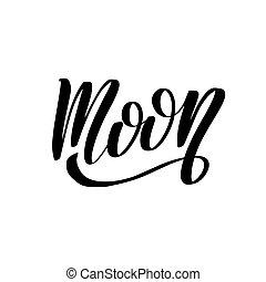 ilustración, acción, grande, moon., caligrafía, vector, hechaa mano