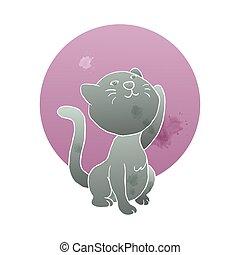 ilustración, acuarela, arte, gato, mano, estilo, aumento de luna, lindo, gatito, artístico