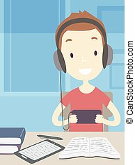 ilustración, adolescente, procrastinating, tipo