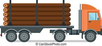 Ilustración aislada del vector del camión de madera de Timber