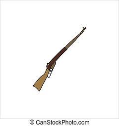 ilustración, aislado, escopeta, vector, blanco, fondo., mano, dibujado
