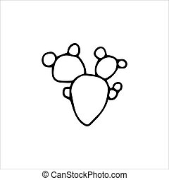 ilustración, aislado, vector, blanco, cacto, fondo., mano, dibujado