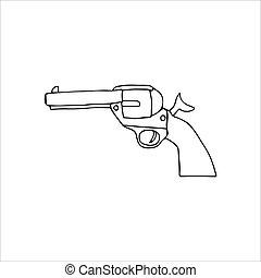 ilustración, arma de fuego, aislado, vector, blanco, fondo., mano, dibujado