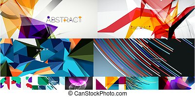 ilustración, backgrounds., vector, conjunto, resumen, social, cubiertas, aviadores, medios, banderas