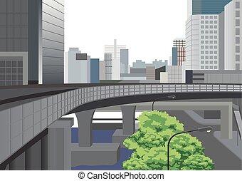 ilustración, bangkok, moderno, ciudad