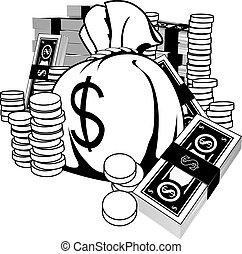 Ilustración blanca y negra del efectivo