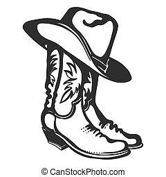 ilustración, blanco, gráfico, vector, hat., aislado, vaquero, diseño, botas