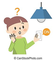 ilustración, blanco, sin, electricidad, mujer, plano de fondo, problema
