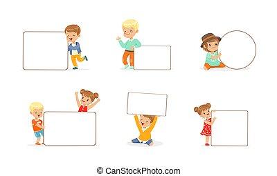 ilustración, blanco, vector, tenencia, niñas, vacío, banderas, poco, niños, niños, conjunto, whiteboards, lindo, caricatura