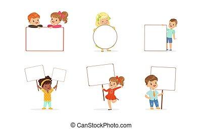 ilustración, blanco, vector, tenencia, niñas, vacío, banderas, signboards, poco, niños, niños, conjunto, lindo, caricatura