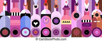 ilustración, botellas, decorativo, vector