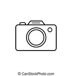 ilustración, cámara, símbolo, blanco, vector, icono, fondo., aislado