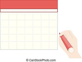 ilustración, calendario, mano, blanco