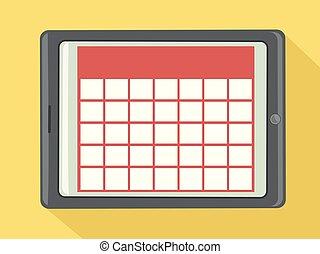 ilustración, calendario, tableta de digital