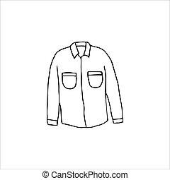 ilustración, camisa, aislado, vector, blanco, hand-drawn, fondo.