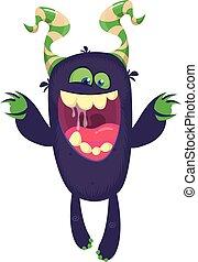ilustración, cara, expression., monstruo, reír, divertido, caricatura, halloween, vector