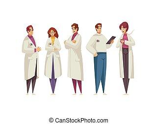 ilustración, caricatura, doctors
