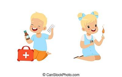 ilustración, caricatura, niños, situaciones, niña, juego, vector, niño, poco, conjunto, medicinas, peligroso, fósforos
