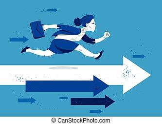 ilustración, carrera, simboliza, cómico, empresa / negocio, apuro, mujer, competición, empleado, o, prisa, flechas, lindo, mujer de negocios, trabajador, caricatura, motivación, corra, divertido, vector, success.