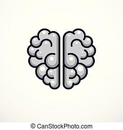 Ilustración cerebral anatómica, logo o icono.