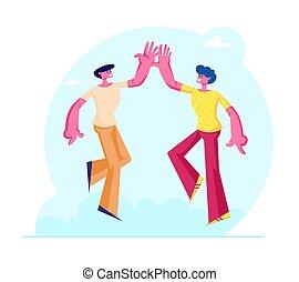 ilustración, cinco, vinculación, conexión, macho, compañeros, alto, amigos, pareja, solidarity., relaciones, entre, amistad, otro, caracteres, toma, amigos, o, símbolo, vector, plano, humano, cada, caricatura