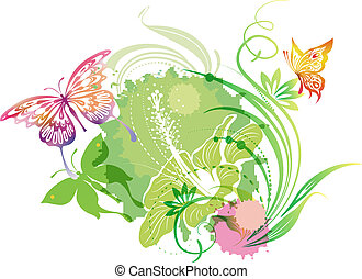 Ilustración con mariposas