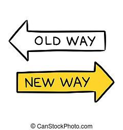 Ilustración conceptual dibujada a mano representando el nuevo camino y el antiguo