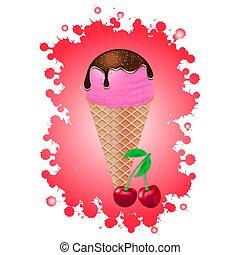 ilustración, cone., vector, crema, hielo, blanco, fondo.