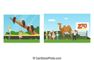 ilustración, conjunto, diferente, animales, niños, zoo, gente, vector, visitar, mirar, excursión