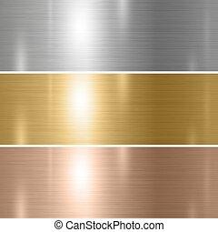 ilustración, conjunto, oro, plano de fondo, metal, textura, cobre, vector, plata