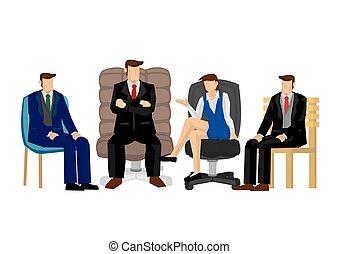 ilustración, corporativo, discussion., equipo negocio