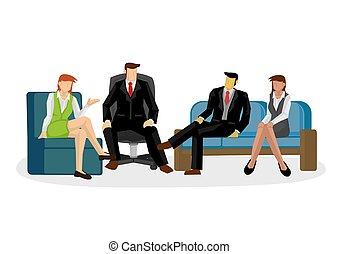 ilustración, corporativo, discussion., multiracial, equipo negocio