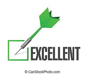 ilustración, dardo, diseño, excelente, marca, cheque
