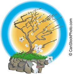 Ilustración de árbol japonés