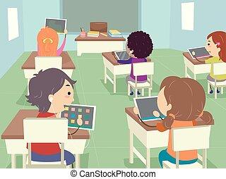 Ilustración de alumnos de Stickman