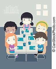 Ilustración de asientos escolares infantiles