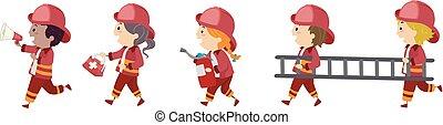 Ilustración de bomberos de Stickman