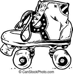 Ilustración de botas de patinaje