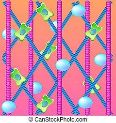 Ilustración de células estructurales con colágeno, elastin y fibroblast para cosmetología