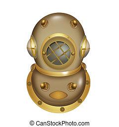 Ilustración de casco de buceo