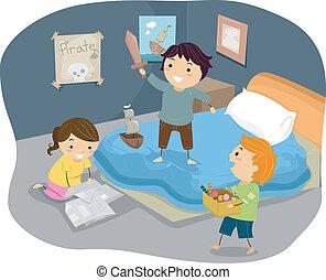 Ilustración de chicos pegajosos jugando a los piratas en el dormitorio