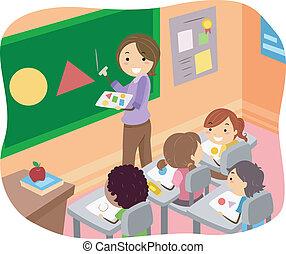 Ilustración de chicos que aprenden formas en un aula