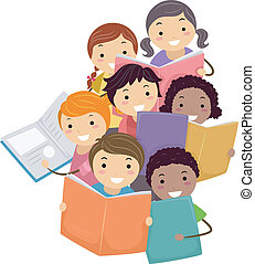 Ilustración de chicos que leen libros