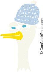 Ilustración de color plano de un pájaro de dibujos animados con sombrero
